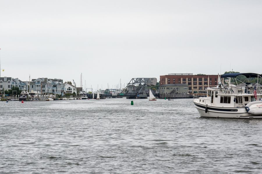 A view up the Mystic River from the Seaport in Connecticut.