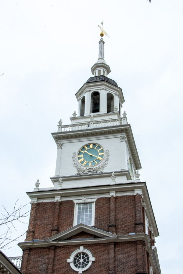 The clock tower of Philadelphia's Independence Hall.