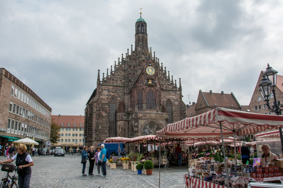 The Frauenkirche on the busy main market square in Nuremberg, Germany.