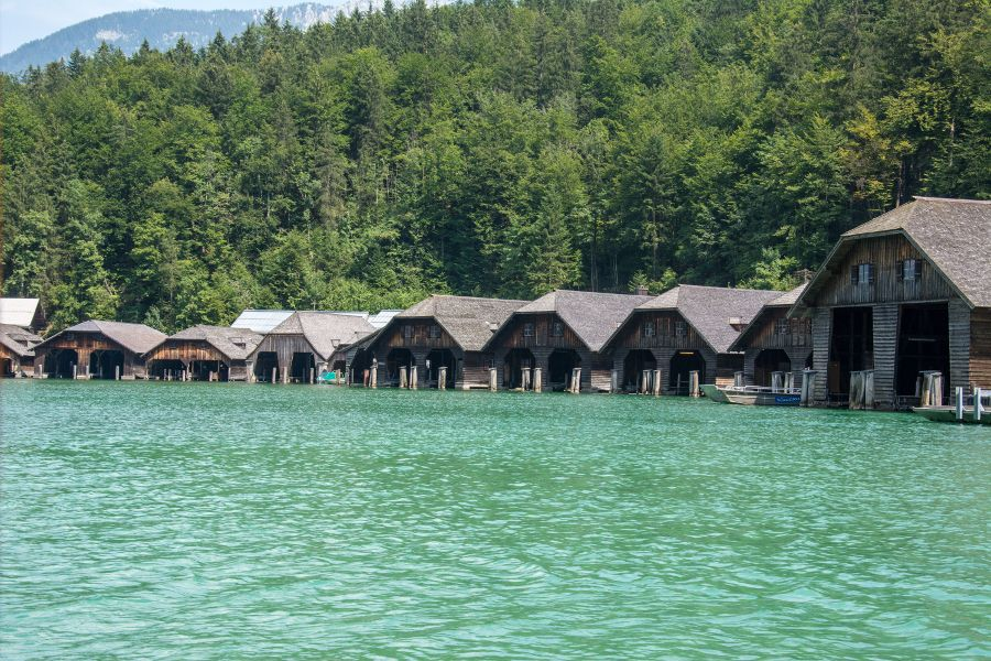 Boathouses along the Königssee.