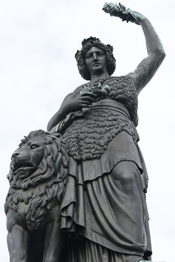 Munich's Bavaria statue close up.