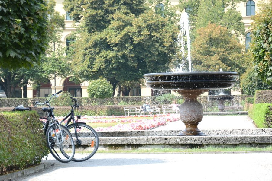 Water fountain in the Hofgarten at the Residenz Munich in Germany.