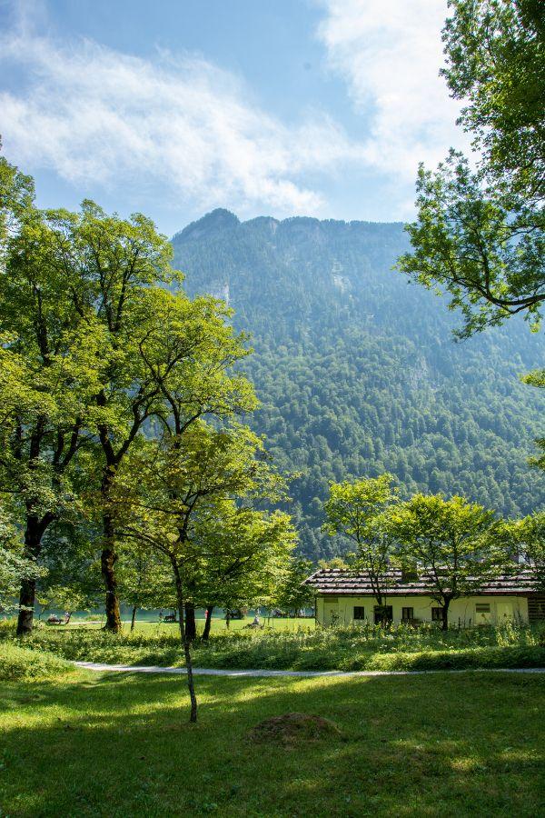A hiking trail through the Watzmann mountain in Berchtesgaden National Park.