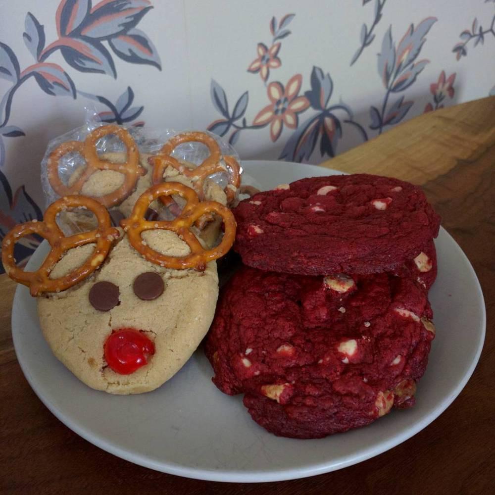 peanut butter reindeer red velvet white chocolate chip cookies