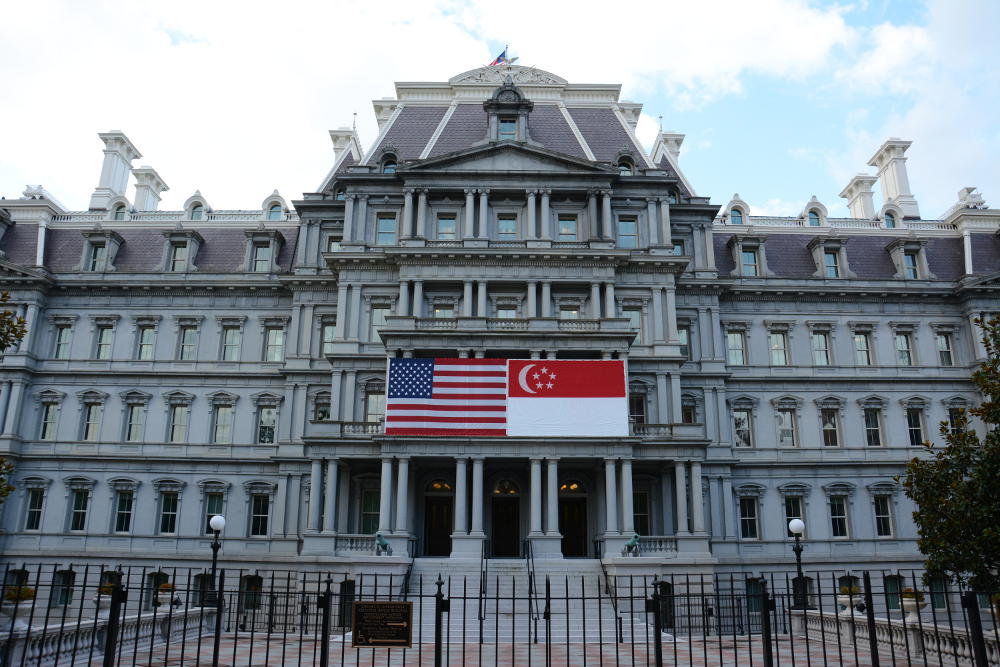 The flag at Eisenhower Executive Office Building. More on how to spend your day in Washington, D.C. on Reverberations.