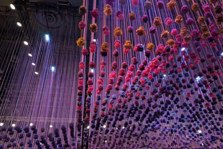 Flowers are suspended over head at the Philadelphia Flower Show 2017.