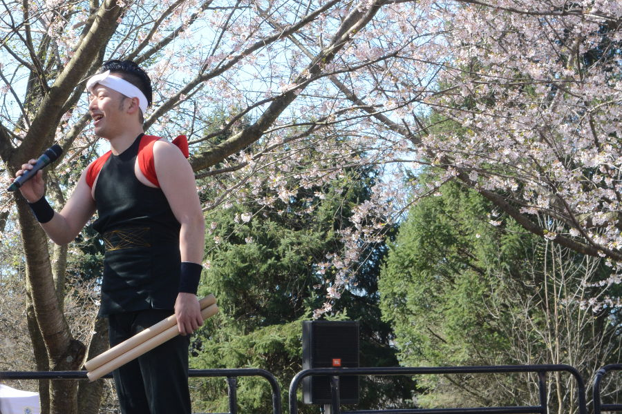 Tamagawa University taiko drummers take to the stage in Philadelphia. Every year, people gather in Philadelphia's Shofuso in Fairmount Park for Sakura Sunday to celebrate Japanese culture and picnic under the cherry blossoms!
