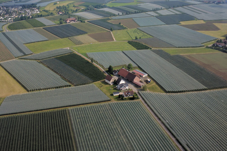 Farms dot the countryside outside of Friedrichshafen as seen from a Zeppelin.