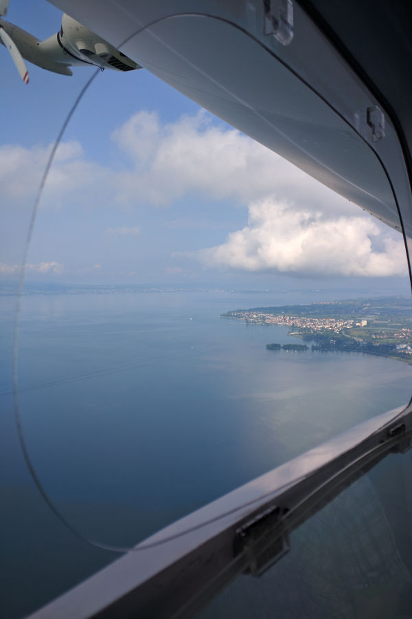 View over Bodensee (Lake Constance) at Friedrichshafen from the Zeppelin.