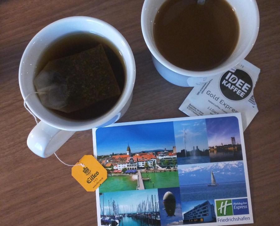 Complimentary coffee and tea at the Holiday Inn Express Friedrichshafen in Germany.