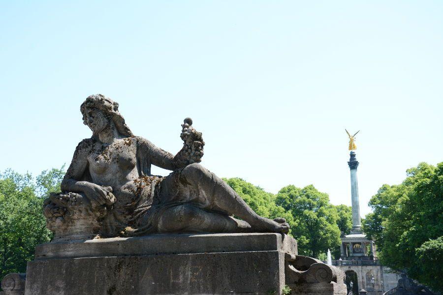 Friedensengel seen from Luitpold Bridge in Munich.