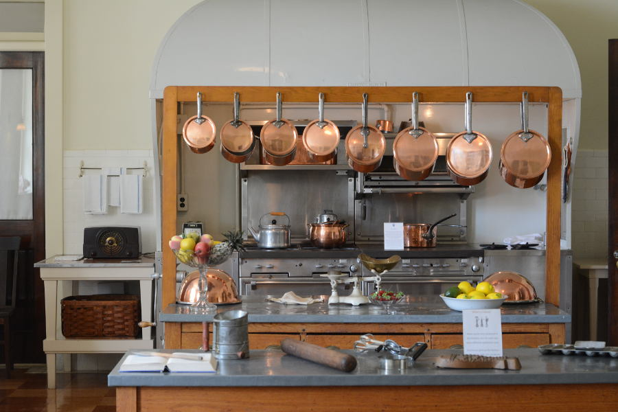 The kitchen at Nemours Mansion.