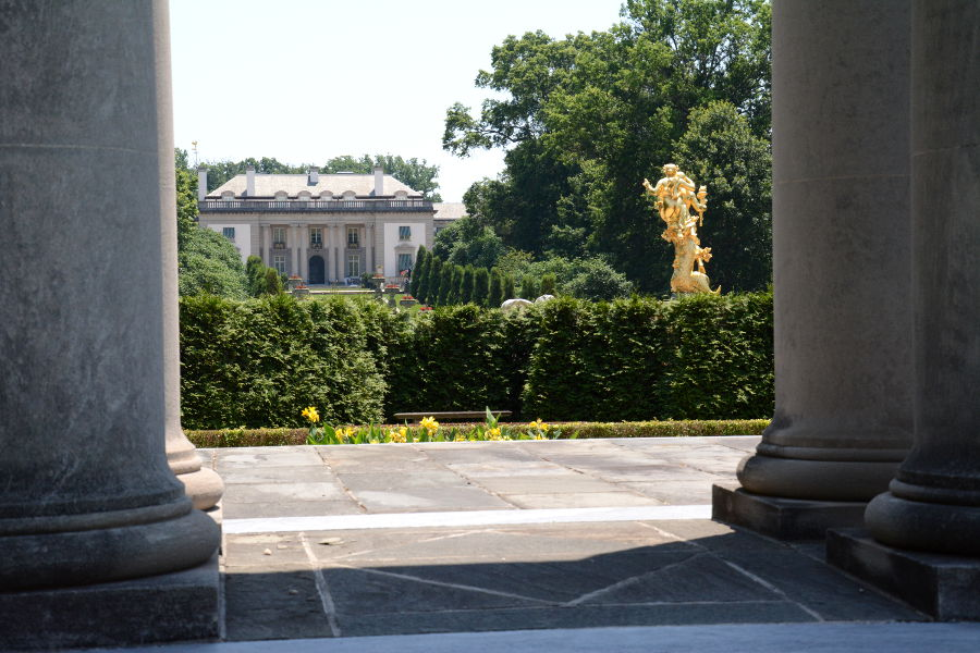 A view of Nemours Mansion through the Colonnade.