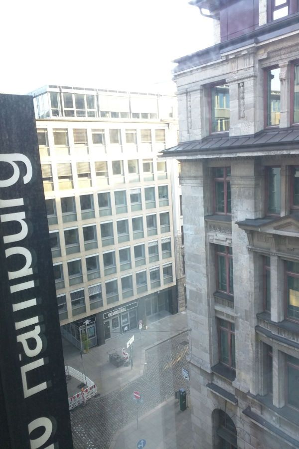 The view from a superior room at Hotel Barceló Hamburg.