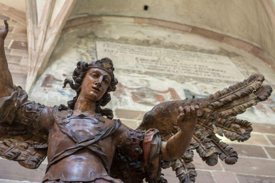Wooden angel sculpture at Germanisches Nationalmuseum in Nuremberg, Germany.
