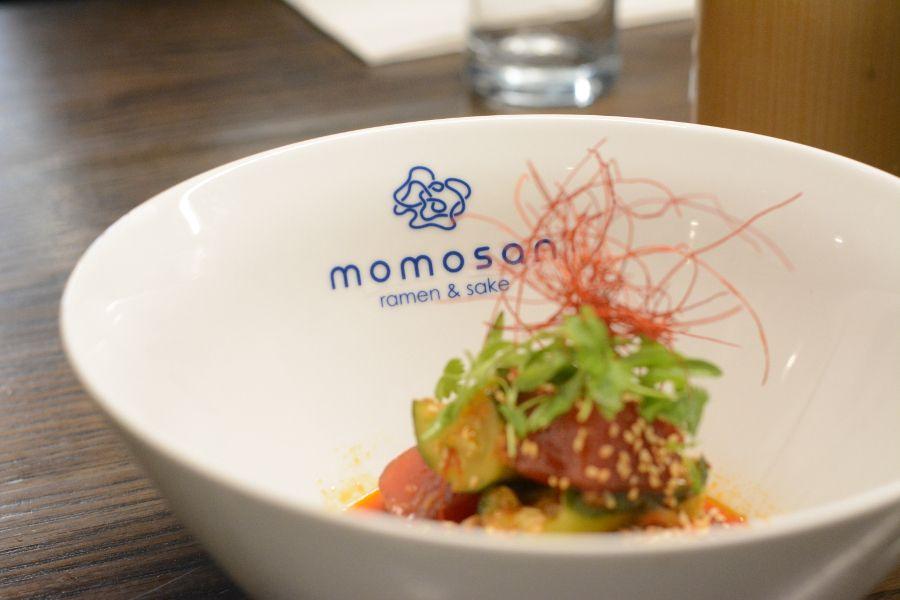 Closeup of Momosan dish.