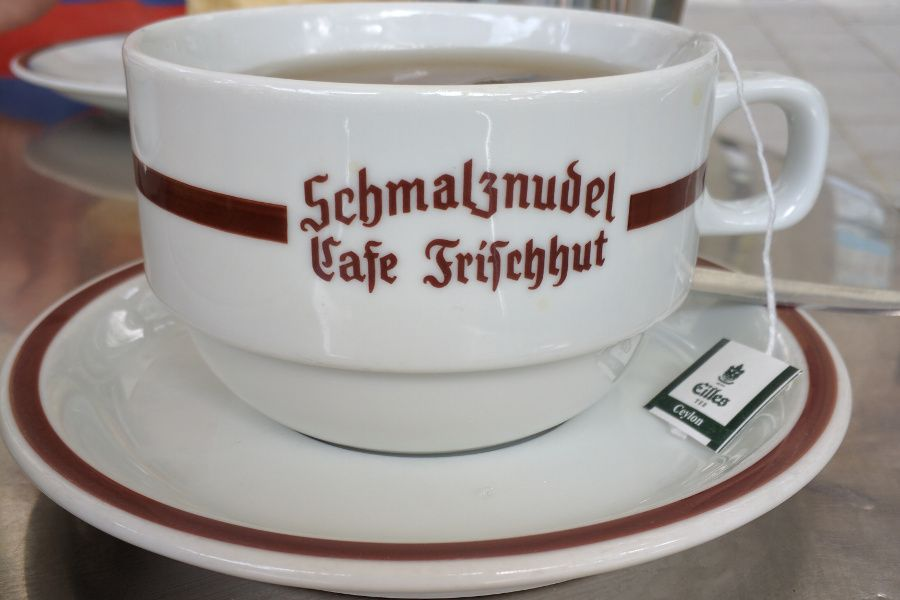 A cup of tea at Schmalznudel Cafe Frischhut in Munich, Germany.