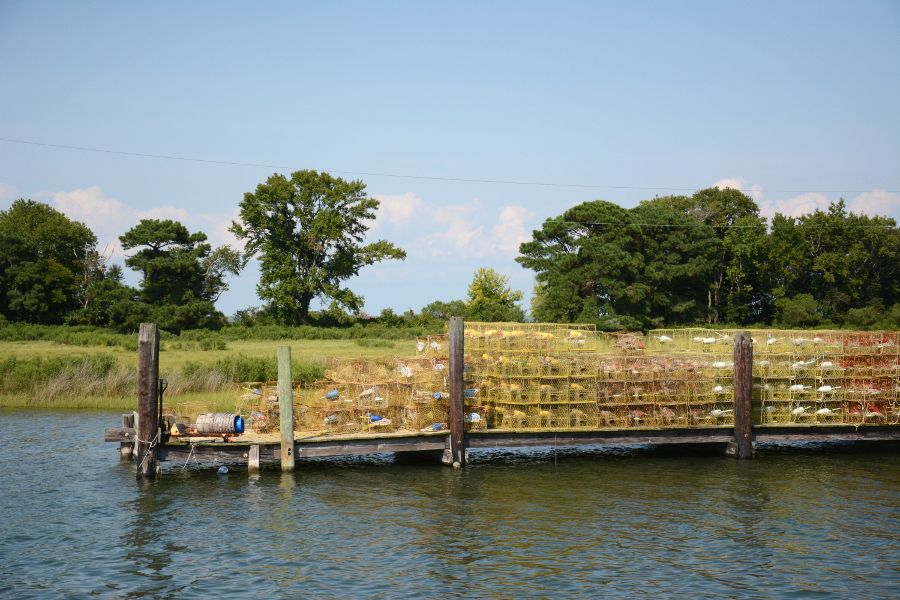Crab pots on a dock in Ewell on Smith Island.