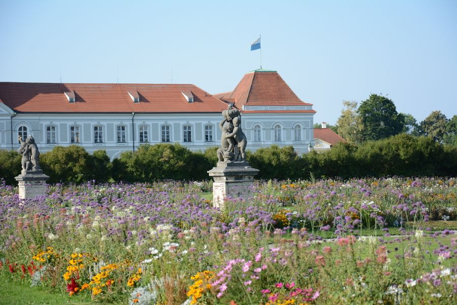 Flowers outside of Nymphenburg Palace in Munich, Germany.