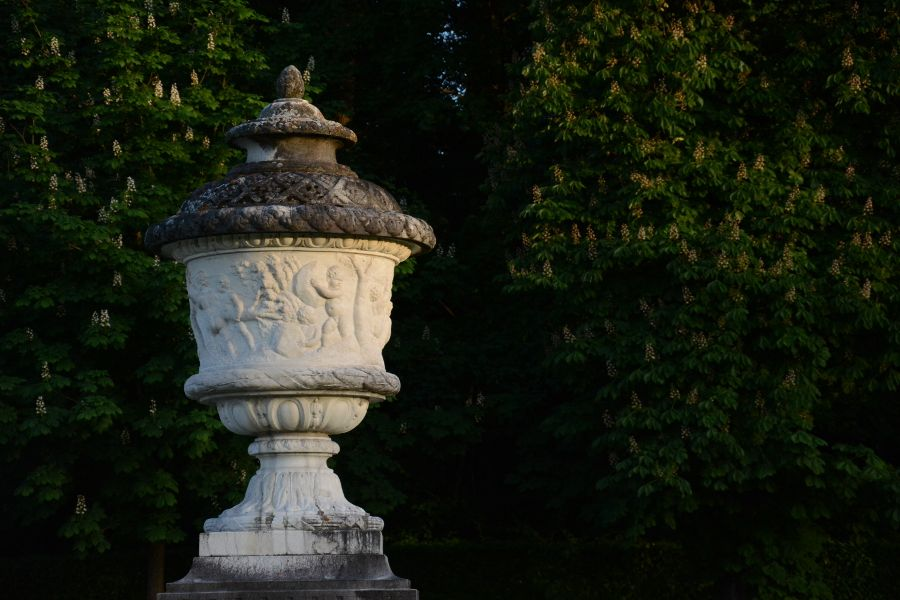 Urn statue at Nymphenburg Gardens in Munich, Germany.