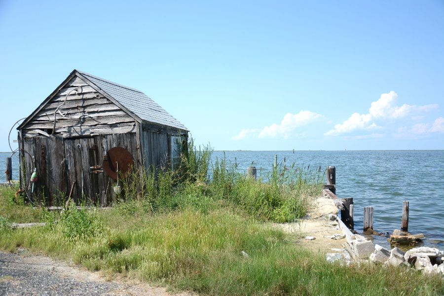 Seafront shack in Ewell on Smith Island.