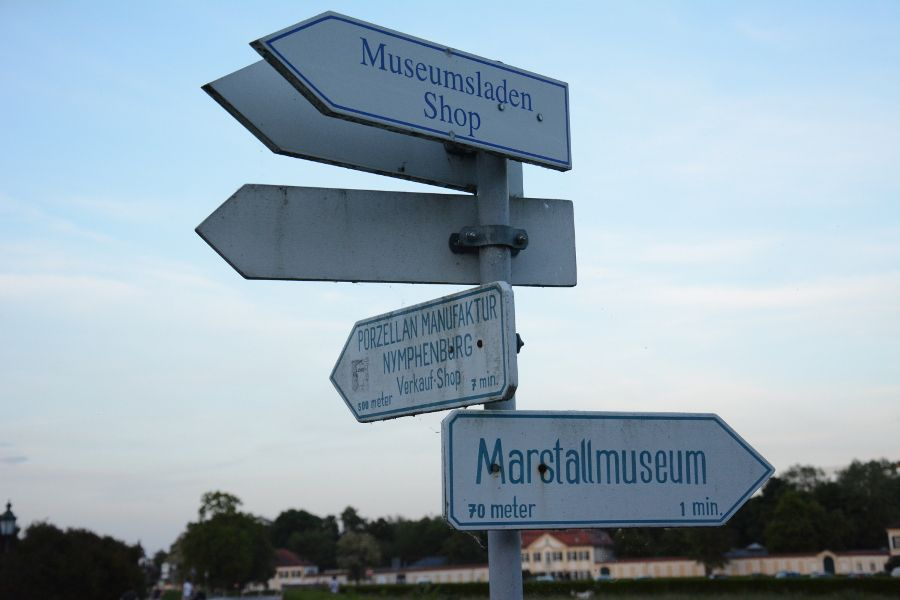 Signpost at Nymphenburg Palace in Munich, Germany.