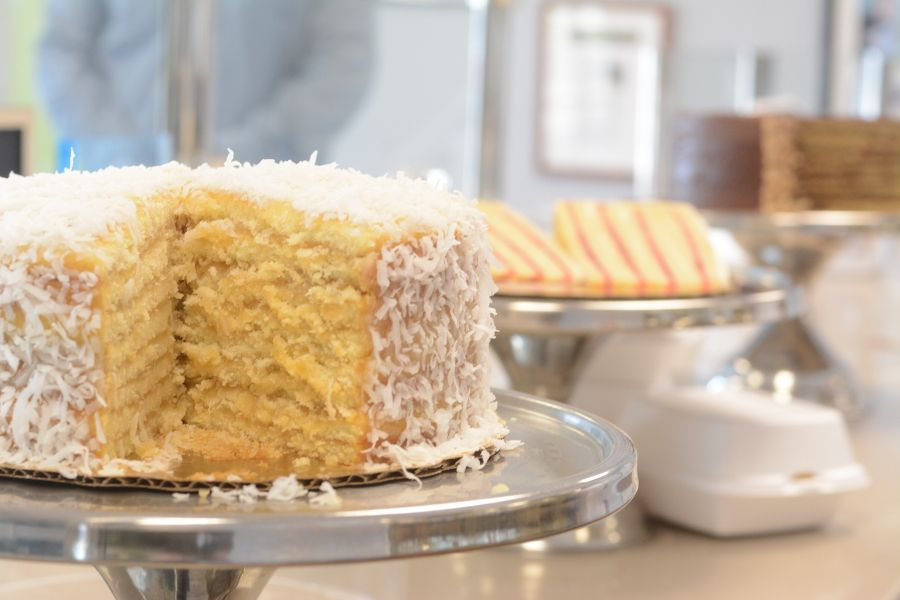 A coconut Smith Island Cake from Smith Island Baking Company.