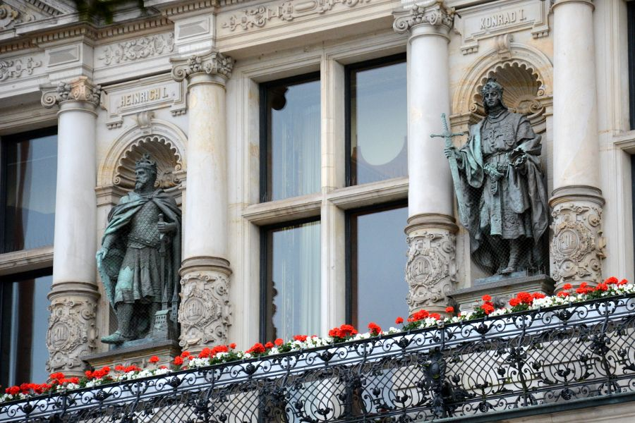 Figures on the facade of Hamburg's Rathaus, or Town Hall.