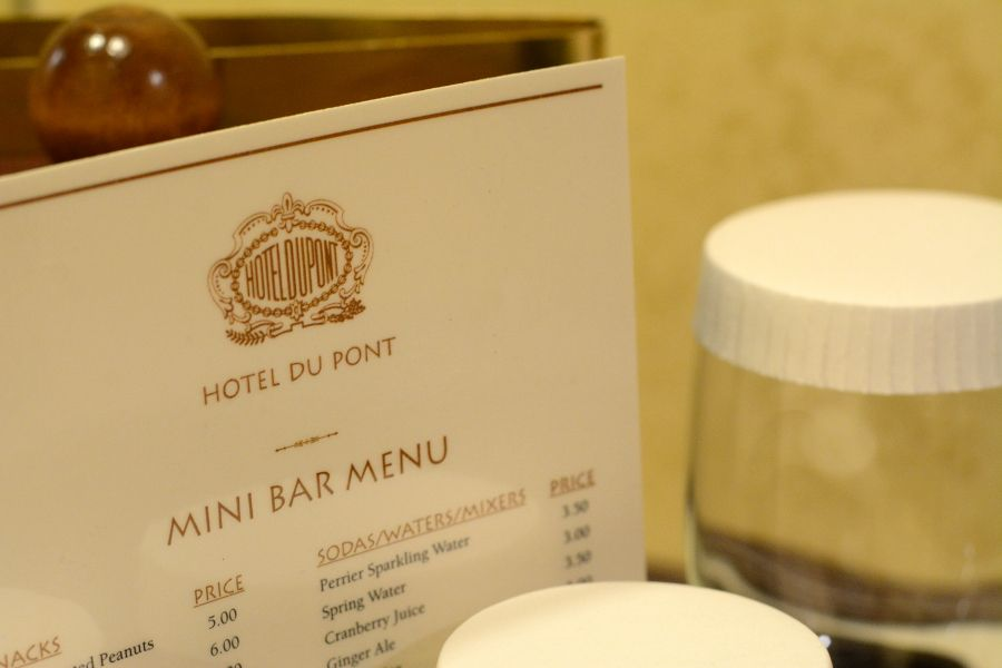 Hotel Du Pont mini bar menu.