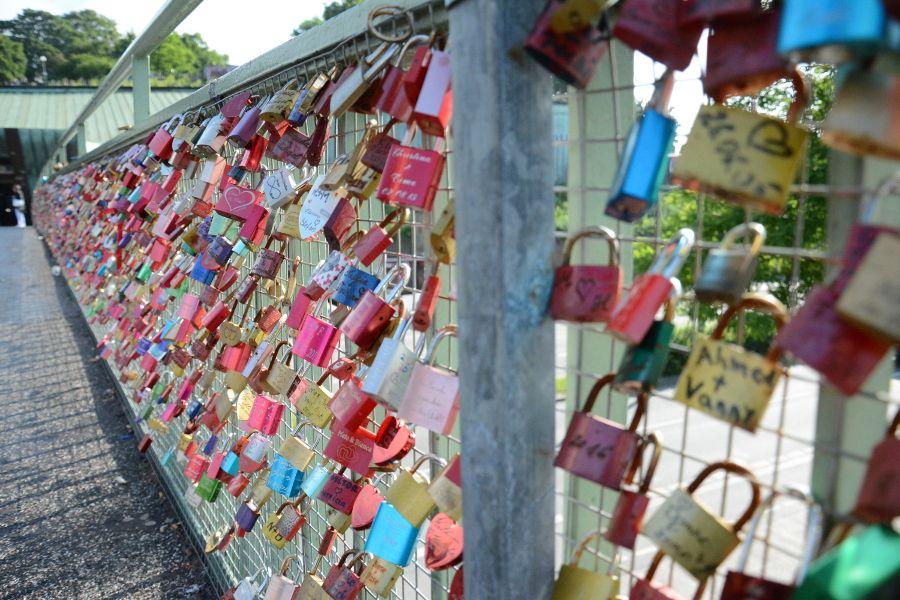 Lovelocks on Landungsbruecken in Hamburg, Germany.