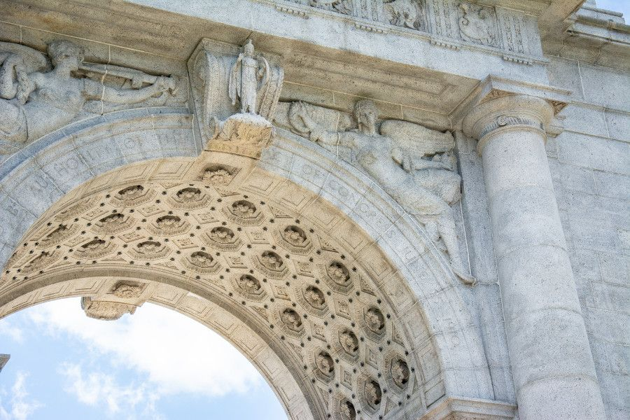 Close up of the National Memorial Arch at Valley Forge National Historical Park.