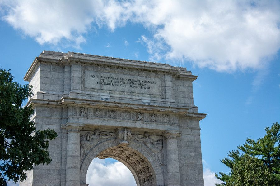 The top of the National Memorial Arch at Valley Forge National Historical Park.