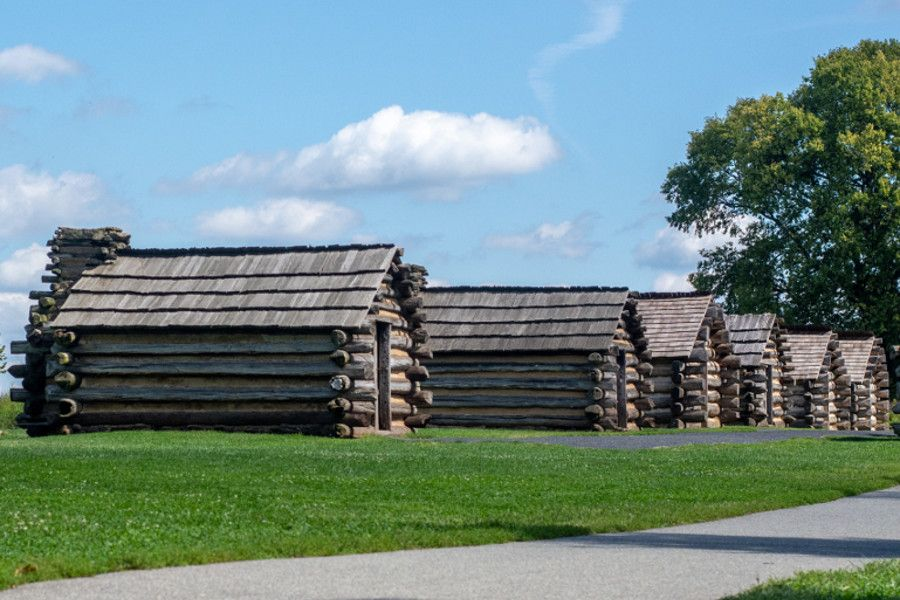 A row of log cabins at Valley Forge.