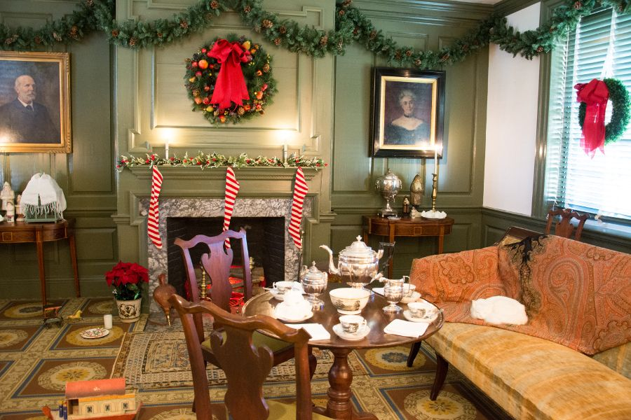 Christmas sitting room in the Wilson-Warner House in Historic Odessa, Delaware.