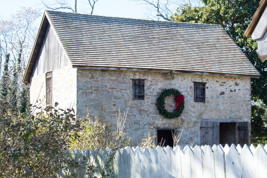 A barn decorated for Christmas in Historic Odessa, Delaware.