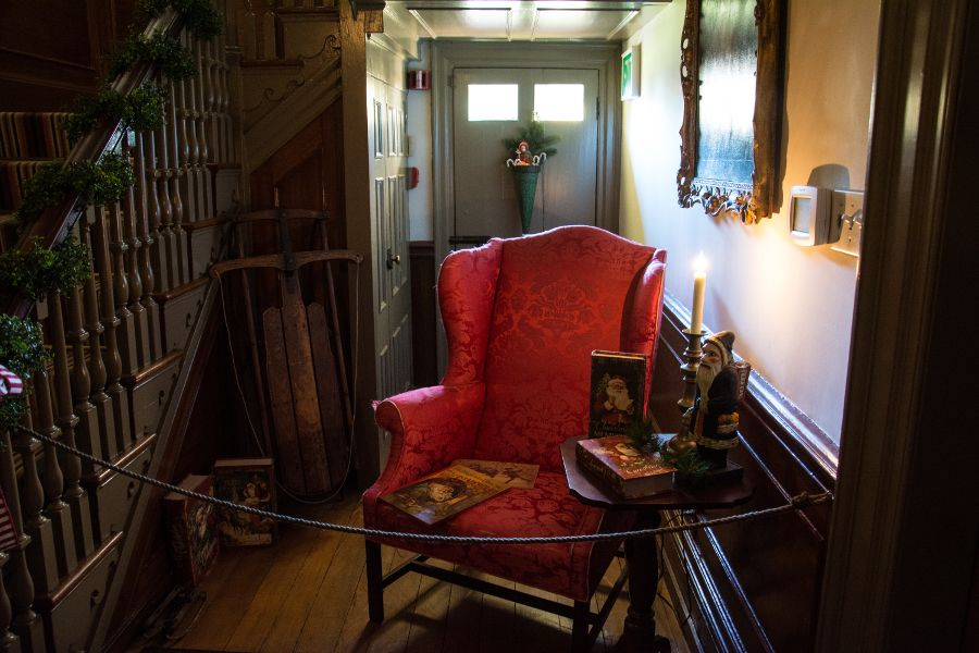 Foyer decorated for Christmas of the Wilson-Warner House in Historic Odessa, Delaware.