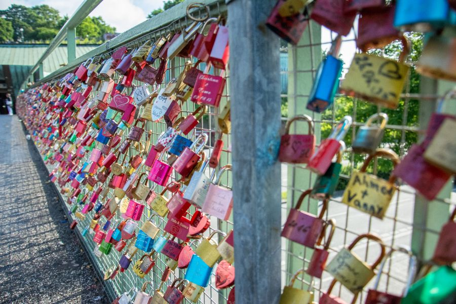 Love locks at Landungsbrücken in Hamburg, Germany.