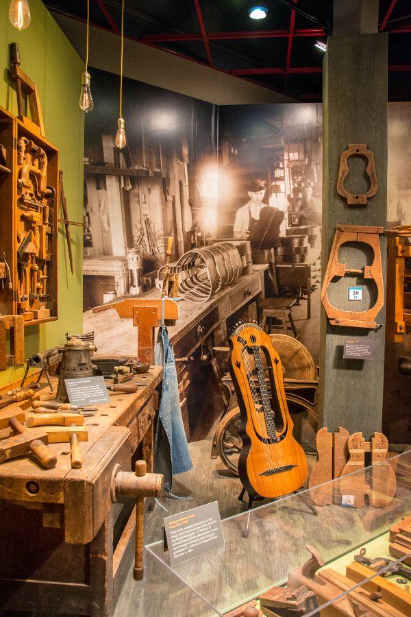 Inside the Martin Guitar museum.