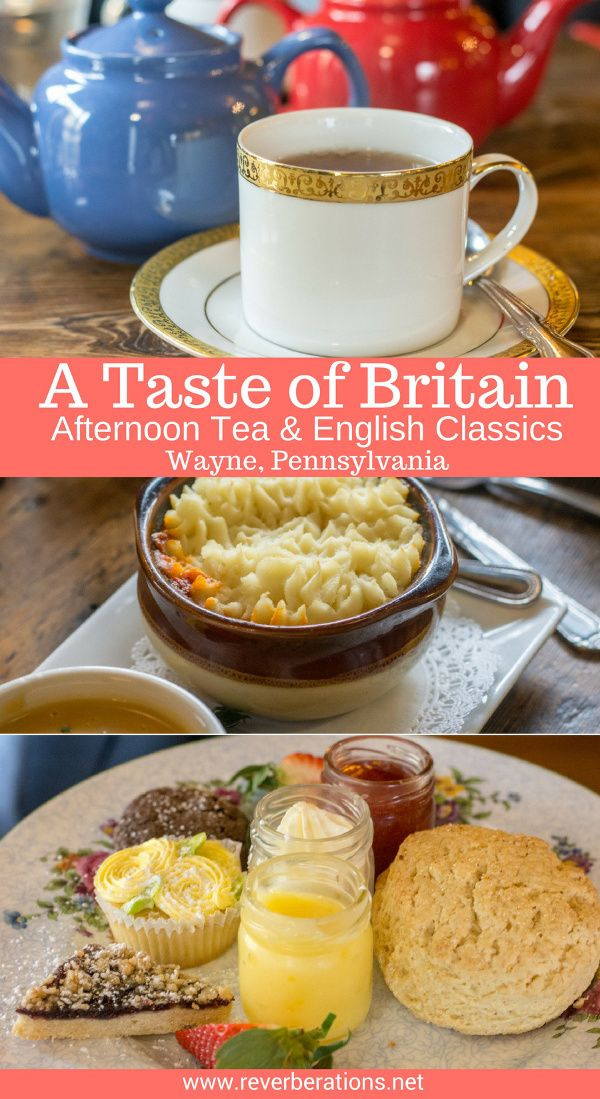 A Taste of Britain is your go-to place for afternoon tea or English classics. Located in Wayne, just outside of Philadelphia, the restaurant sells British groceries in addition to the tea and homemade food. #afternoontea #tea