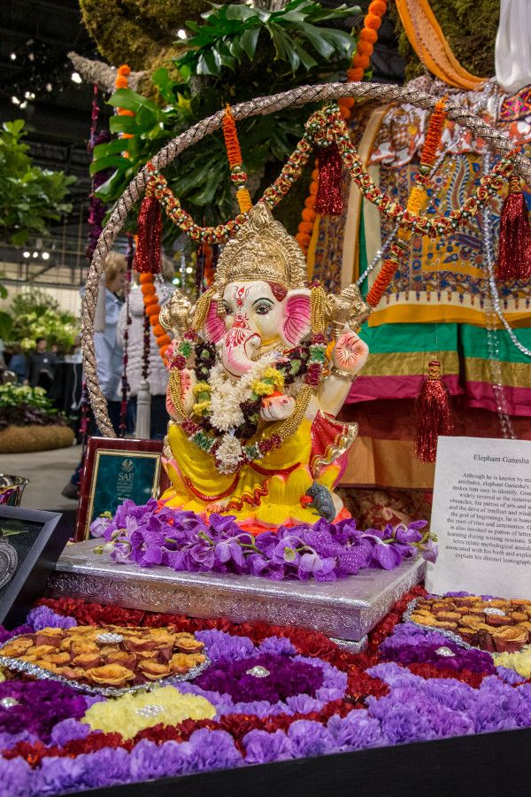 Flowered elephant Ganesha at the Philadelphia Flower Show 2018.