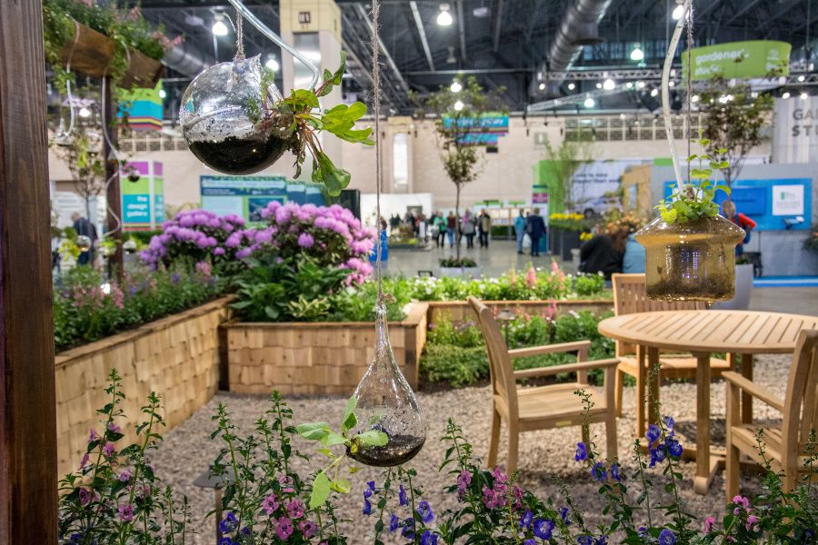 Hanging terrariums at the Philadelphia Flower Show 2018.