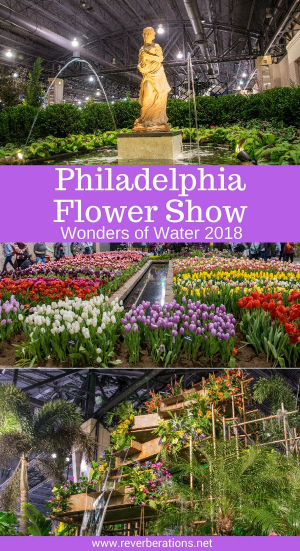Each year the Philadelphia Flower Show ushers in spring. The 2018 Flower Show celebrates the theme Wonders of Water with exhibits large and small. #flowershow #philadelphia #philly