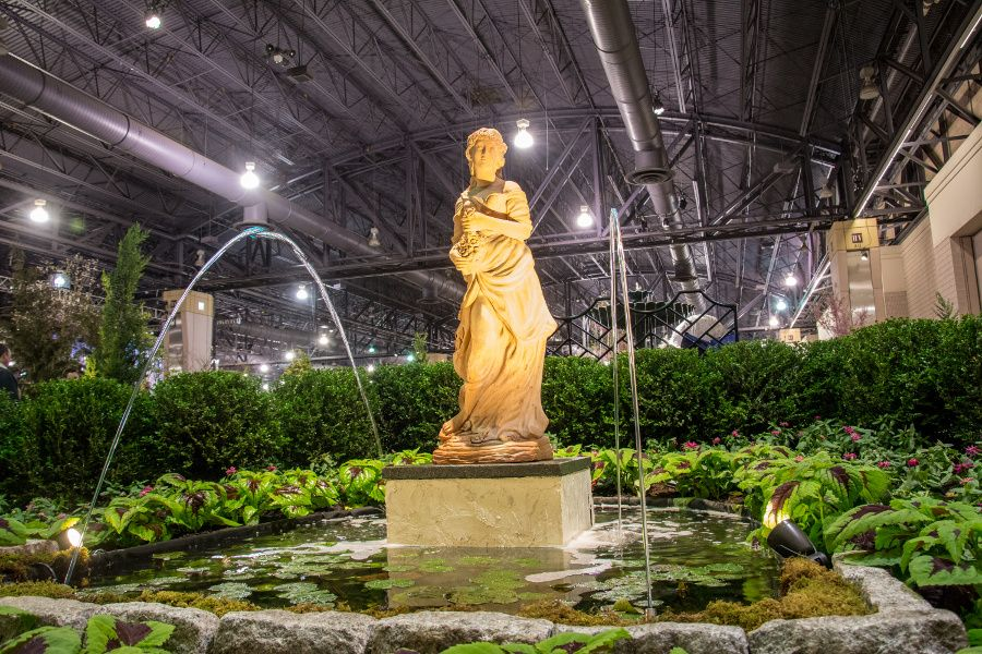 Sculpture and water fountain at the Philadelphia Flower Show 2018.