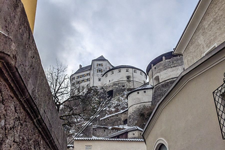 Looking up at Kufstein Fortress in Austria.