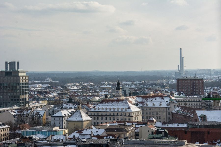 The view south from Munich's Neues Rathaus tower observation deck.