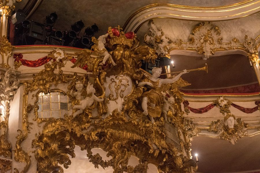 Lavish decorations at the Cuvilliés Theatre in Munich, Germany.