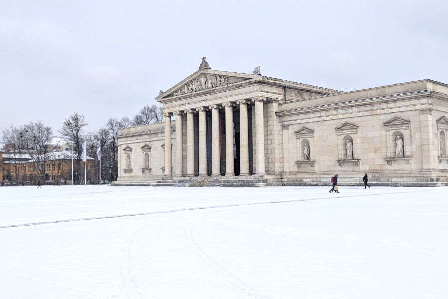 Glyptothek covered in snow in Munich, Germany.