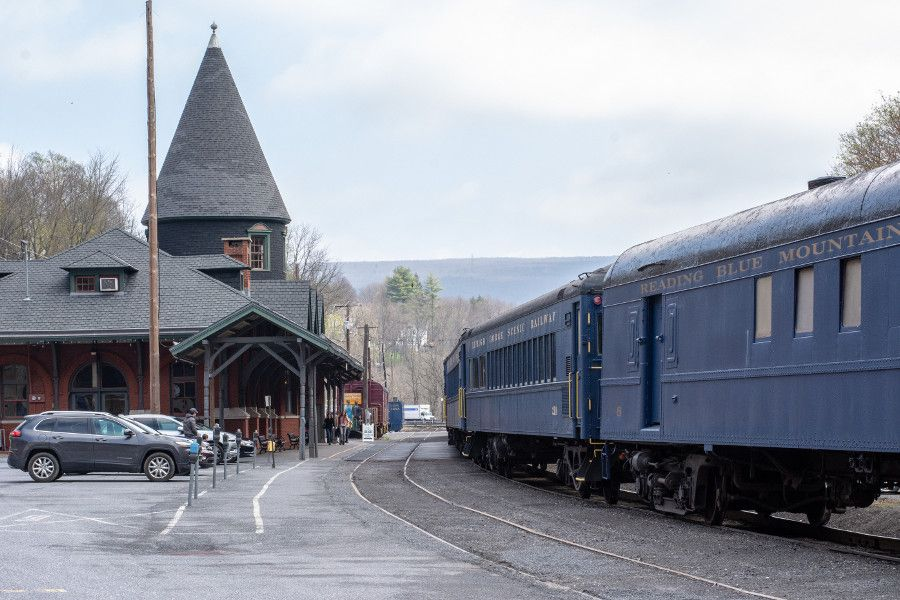 The Lehigh Gorge Scenic Railway train pulls up to the Jim Thorpe Train Station.