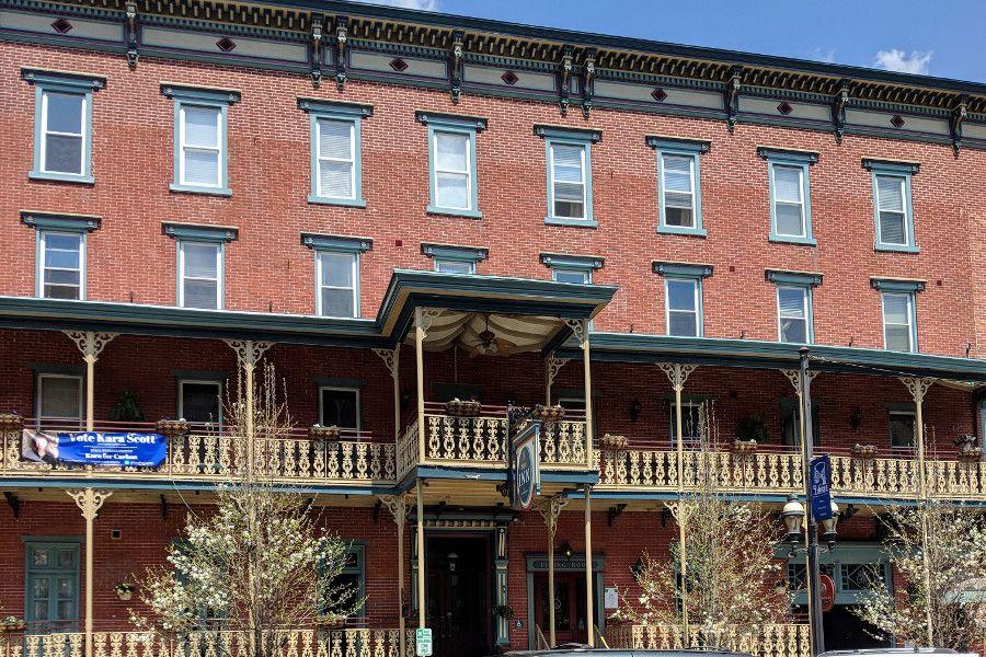 A historic Victorian brick building in Jim Thorpe, PA.