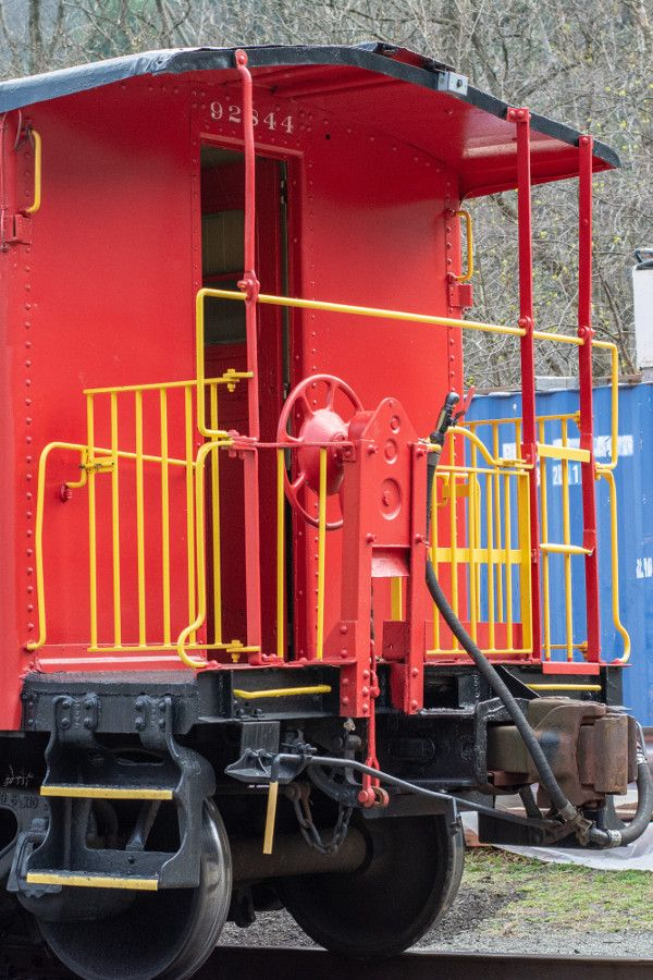 The Lehigh Gorge Scenic Railway's bright red caboose.